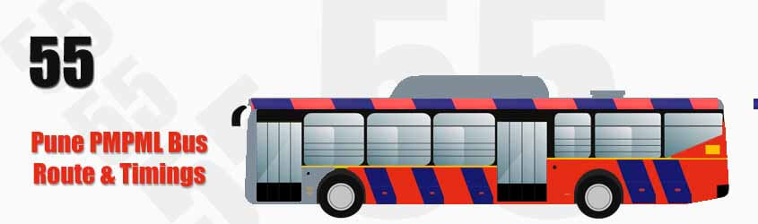 55 Pune PMPML City Bus Route and PMPML Bus Route 55 Timings with Bus Stops